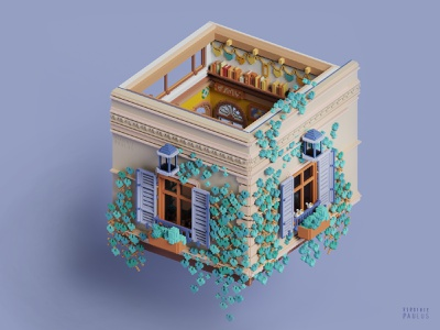 home's slice architecture diorama modeling 3d ivy home building appartment haussman voxel video game art cubes voxelart magicavoxel dollhouse