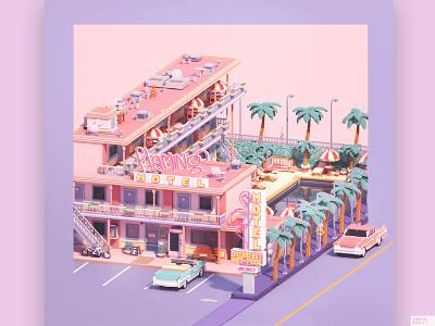 flamingo motel vaporwave miniature motel flamingo game dev pink summer holiday americandream sign retro california dollhouse tinyhouse architecture video game art isometric diorama magicavoxel voxel
