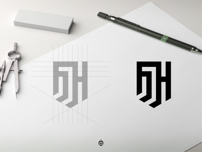 MH monogram logo concept identity logopedia logogrid logoconcept consulting luxurydesign mhlogo graphic design branding vector monogram logo letter initials design