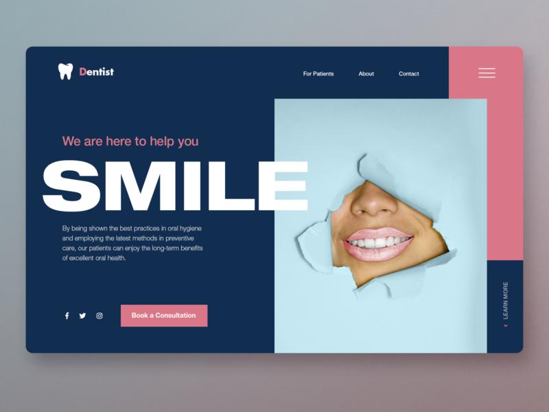 Smile Landing page UI dentistry teeth dentist clean ui graphic design app design website design homepage ux uidesign ui webdesign landingpage