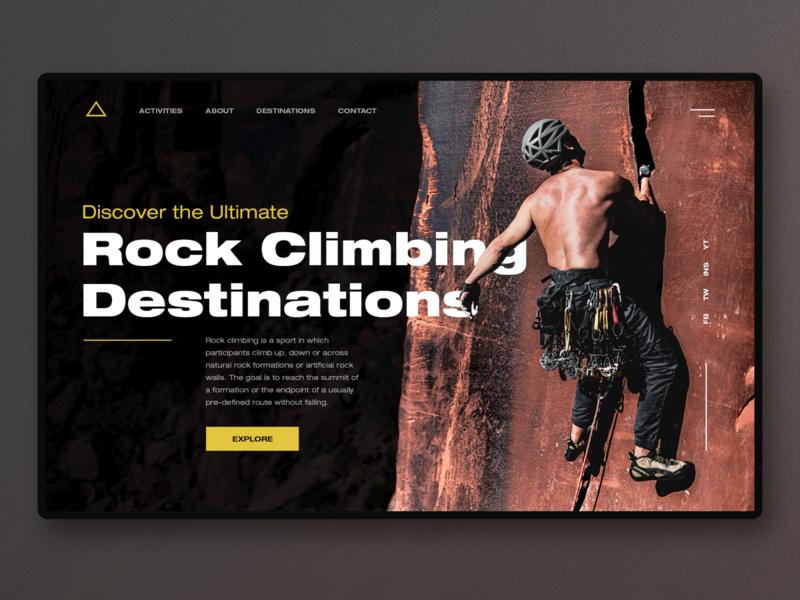 Rock Climbing UI climbing climber rock climbing rock graphic design concept app design website design homepage ux uidesign ui webdesign landingpage