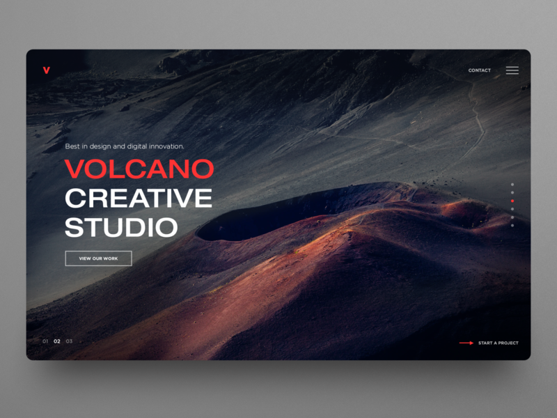 Volcano Creative Studio Web UI banner hero image dark ui agency website studio website dailyui clean ui graphic design homepage website design uidesign ux ui webdesign landingpage