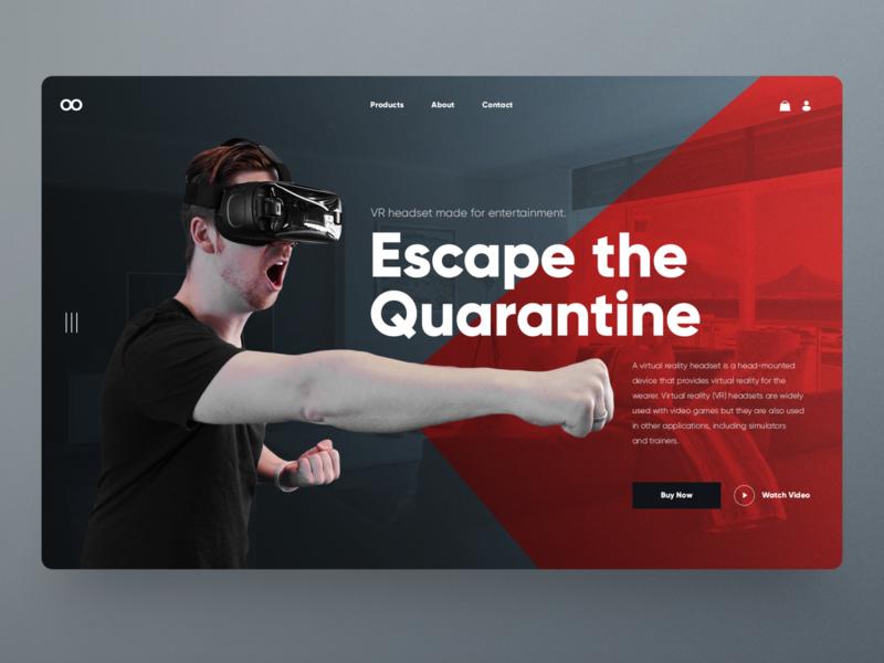 VR headset concept landing page landing page slider hero image quarantine clean ui dailyui concept website design homepage uidesign ux ui webdesign landingpage