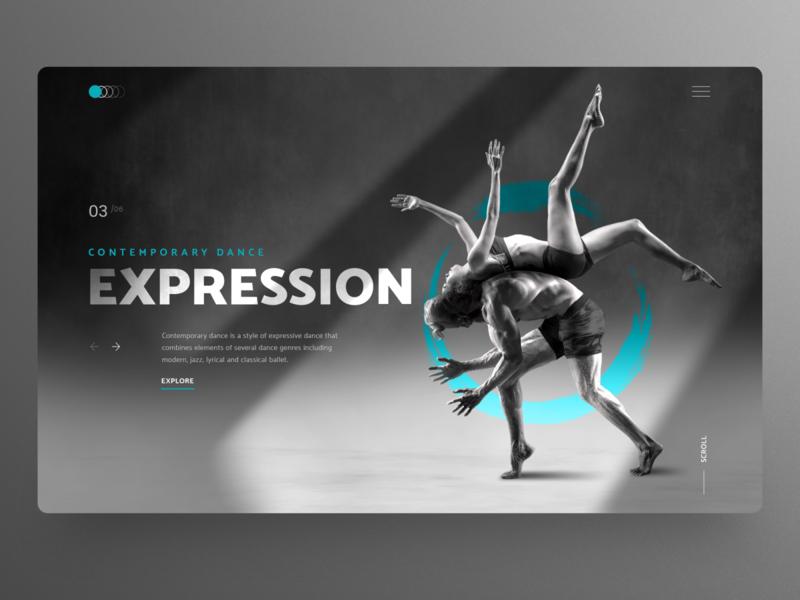 Dance Expression UI dance clean ui contemporary dance art dancing hero image concept dailyui website design homepage uidesign ux ui webdesign landingpage