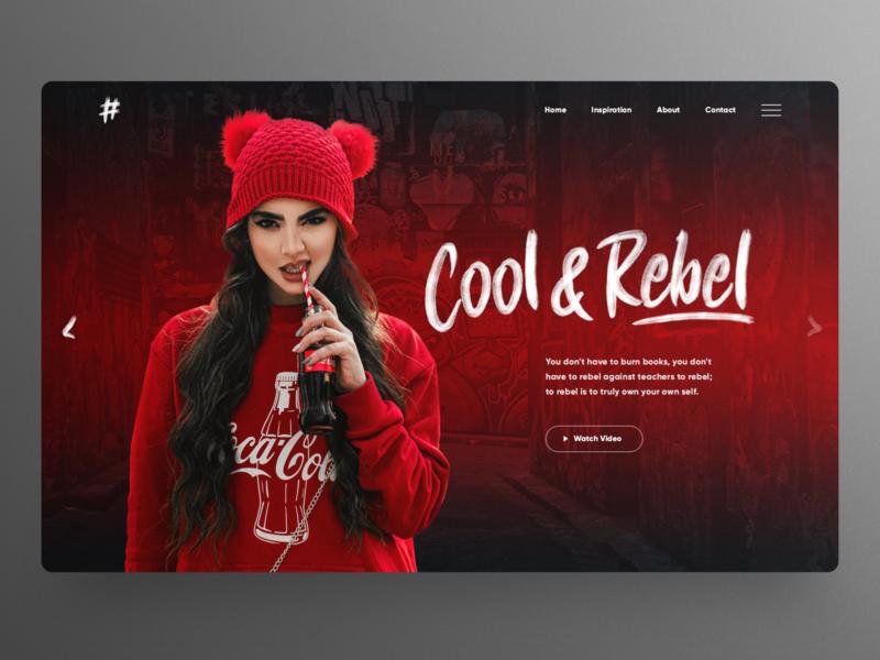 Cool & Rebel concept UI design slider banner hero image streetwear urban design red and black fashioin concept homepage website design ux ui uidesign landingpage webdesign