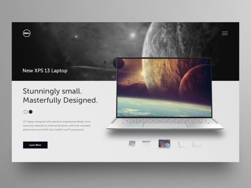 Laptop landing page UI design layout hero clean ui app design website design homepage uidesign ux webdesign ui landing page xps13 laptop dell