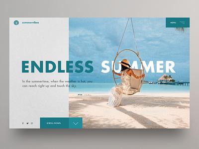 Endless Summer website UI hero image homepage clean ui website design summer uidesign ux webdesign landingpage ui