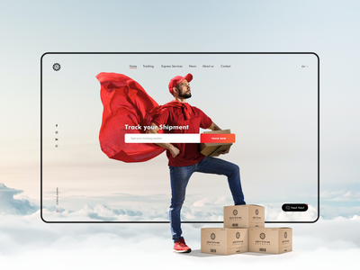 Express courier and logistics UI website design hero image clean ui express delivery courier homepage ux webdesign landingpage ui