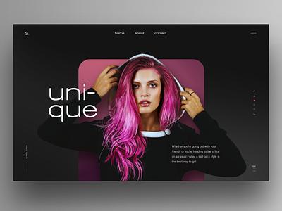 Unique-UI design fashion website graphic design uidesign dark ui clean ui website design hero image homepage ux webdesign landingpage ui
