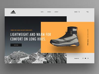 Adidas Terrex Hiking Shoes website design ux webdesign landingpage ui hero image product page shoes adidas hiking