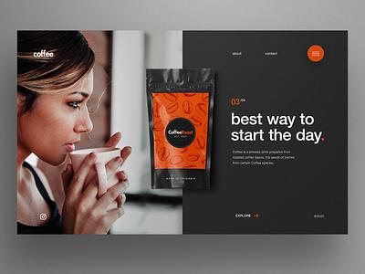 Coffee website homepage first screen hero image ux ui uiux landing page ui landingpage web design coffee