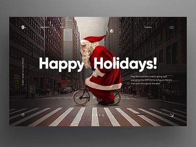Happy Holidays hero image homepage concept website design landing uiux ui merry christmas happy new year santa claus santa