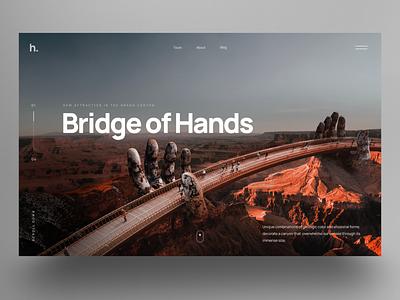 Bridge of Hands bridge canyon ux landingpage uidesign website design hero slider webdesign ui
