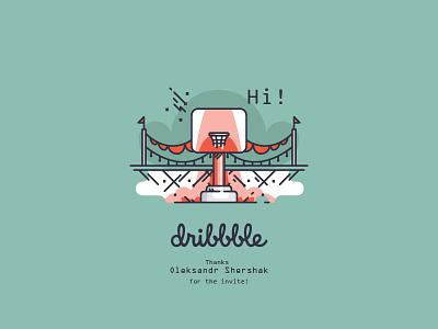 Hi dribbble! shots debut line art basket field first shots illustration design