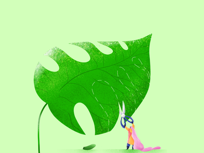Leaf illustration design character trending leaf