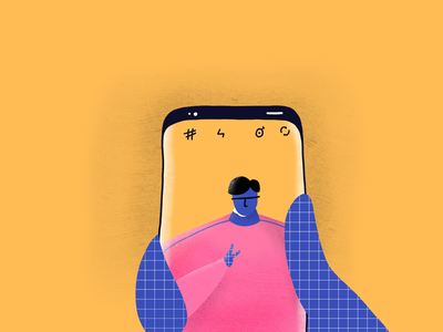 Selfie colors vibrant grid design texture grain illustration phone s9 camera potrait selfie