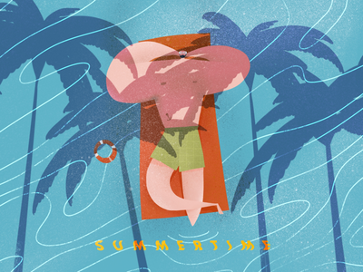 Summer coconuts beach character design books cover magazine poster illustration pool chill summers