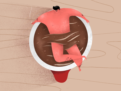 Bathub chill coffee texture design character illustration