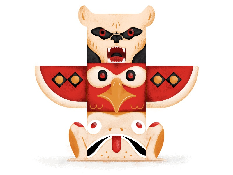Triple Threat - Totem adobe cc illustrator photoshop texture design frog bird bear totem illustration