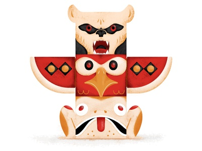 Triple Threat - Totem adobe cc illustrator photoshop texture design frog bird bear totem illustration