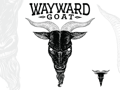 Wayward Goat Collectibles - Logo evil angry vector animal handdrawn icon horns black and white bw illustration logo goat