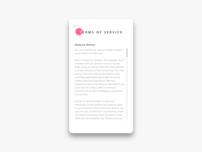 Daily UI Challenge #089 Terms of Service