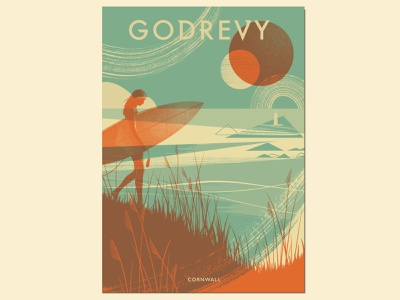 Godrevy environment ocean figure retro vintage travel poster abstract duotone riso silkscreen landscape illustration book cover vintage poster beach print surfer landscape cornwall beach surfing