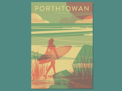 Porthtowan nature realistic figurative surfing wall art travel poster abstract duotone riso printmaking poster design vintage sea retro poster screenprint ocean silkscreen vintage poster book cover cornwall