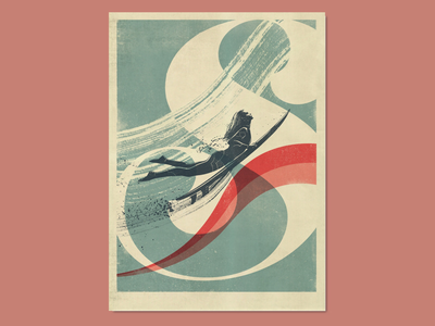 Duckdive lettering retro poster design poster design poster typography tricolour screen printing printmaking silkscreen surfing vintage poster retro poster