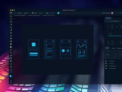 Adobe Photoshop CC Redesign Concept creative cloud gradient neon concept redesign cc photoshop adobe