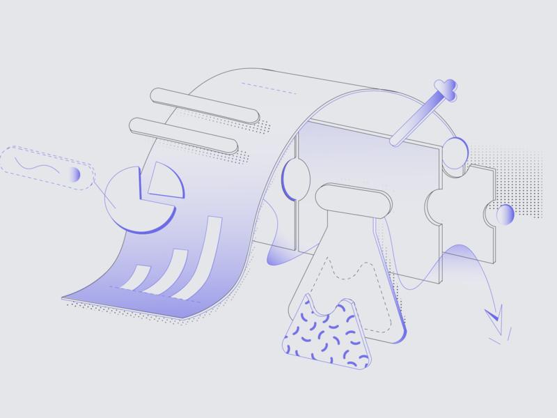 Email Illustration - View Your Report website illustrator isometric designs clean art 2d email app web ui gradient vector branding linework illustration tech design