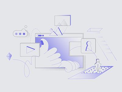 Email Illustration - Welcome to Marpipe thumb hand tool purple ui vector gradient 2d illustrator flat branding art tech linework illustration