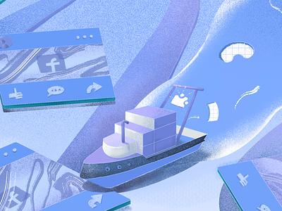 Banner: Sail Marpipe Ship to New Facebook Features banner ads frame platform ship facebook banner design banner 3d gradient 2d illustrator flat branding art illustration design