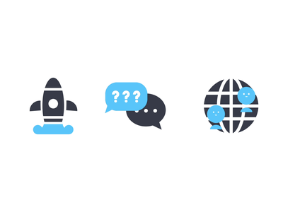 3 Icons: GETTING STARTED/FAQ & TIPS/COMMUNITY ui logo illustration design 2d illustrator flat gif faq community icon set launch motion icon design icon