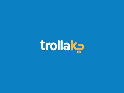 trollak illustration logo online shop shoping super market market logo ui app branding design
