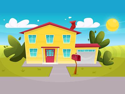 Vector house outside nature grass sky sun art cozy farm suburb mailbox colorful home house cartoon illustration vector