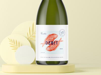 Debit wine label dalmatian dalmatia stamp fish korcula croatia label wine illustration