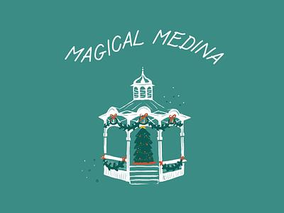 Medina Square gazebo illustration ohio holiday christmas