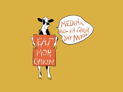 Medina Eats Chikin illustration character moo cow chick-fil-a