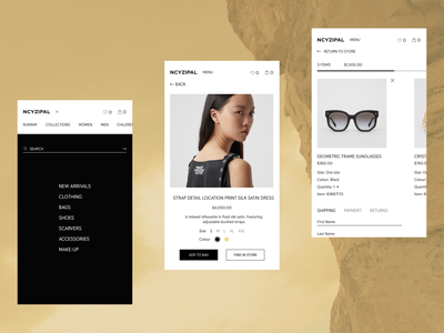 NCYZIPAL(mobile) online store mobile design mobile online store minimal web ux ui design