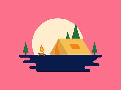 Day 15 of the 30 day flat design challenge! campsite flat design illustration design figma