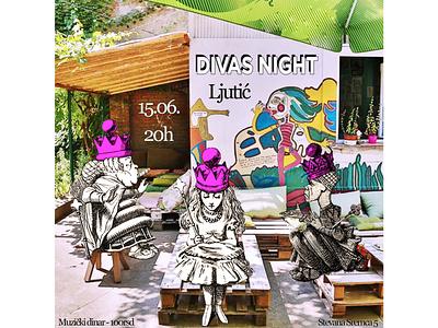 Cabaret Duo Party Event Cover alice in wonderland visual identity poster photoshop photo edit lady k human woman event branding event duo drag queen drag divas night dekadenca cover cabaret arts artist adobe photoshop