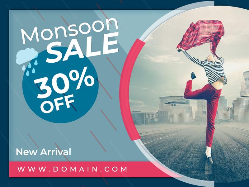 Monsoon sale banner design tranding banner ads design latest uidesign banner design ecommerce