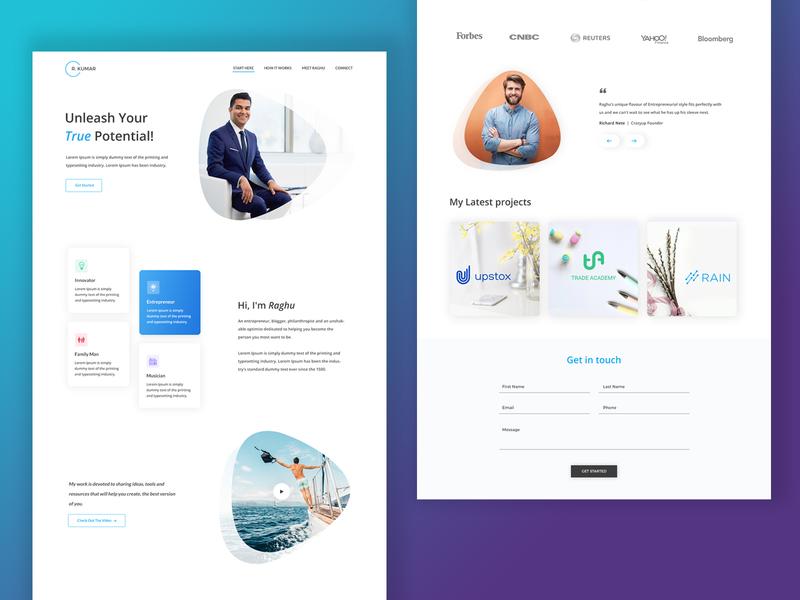 Entrepreneur Landing Page Design landing page design website design layoutdesign uidesign uxui webdesign