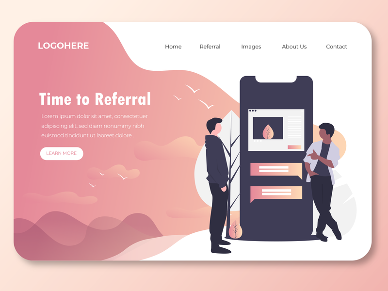 referral landing page mobile app referral user interface design user experience landing page design landing page referrals reference referral
