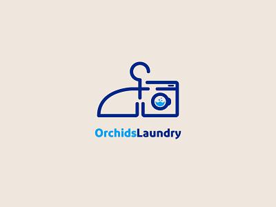 Orchids Laundry Logo Design laundry logo vector design minimal brand identity logodesign branding logo design logo