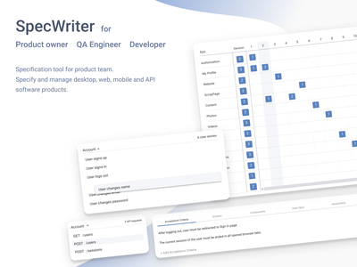 SpecWriter design documentation product-manager product-owner specification requirements release epic user-story product webapp webdesign web app design ux ui api