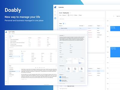 Doably Web Application trello time todolist task manager product manager product jira flat documentation design webapp web ux ui app design calendar business