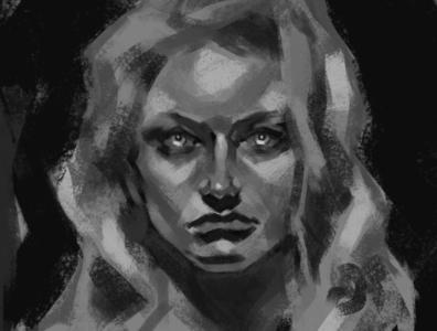 Gaze photoshop artwork portrait traditional student work digital painting art study