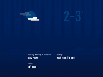 Surf of The Day surfing app layout blue surf weather animation